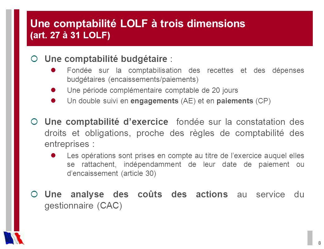 8 Une comptabilité LOLF à trois dimensions (art. 27 à 31 LOLF) Une comptabilité budgétaire : Fondée sur la comptabilisation des recettes et des dépens