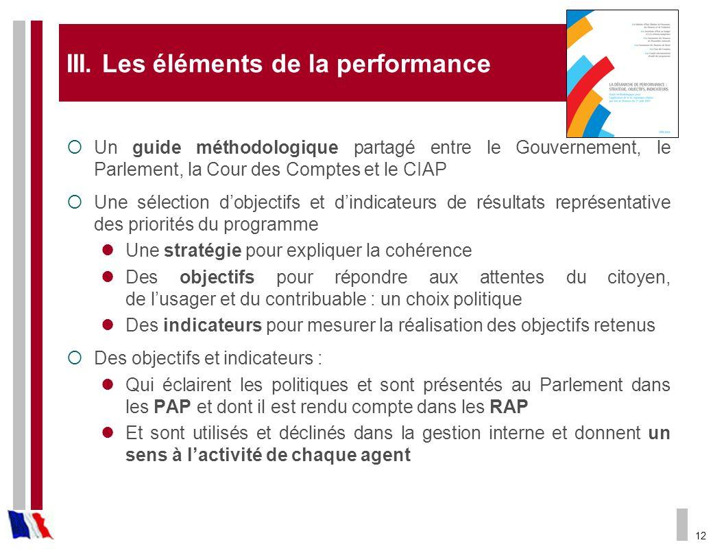12 III. Les éléments de la performance Un guide méthodologique partagé entre le Gouvernement, le Parlement, la Cour des Comptes et le CIAP Une sélecti