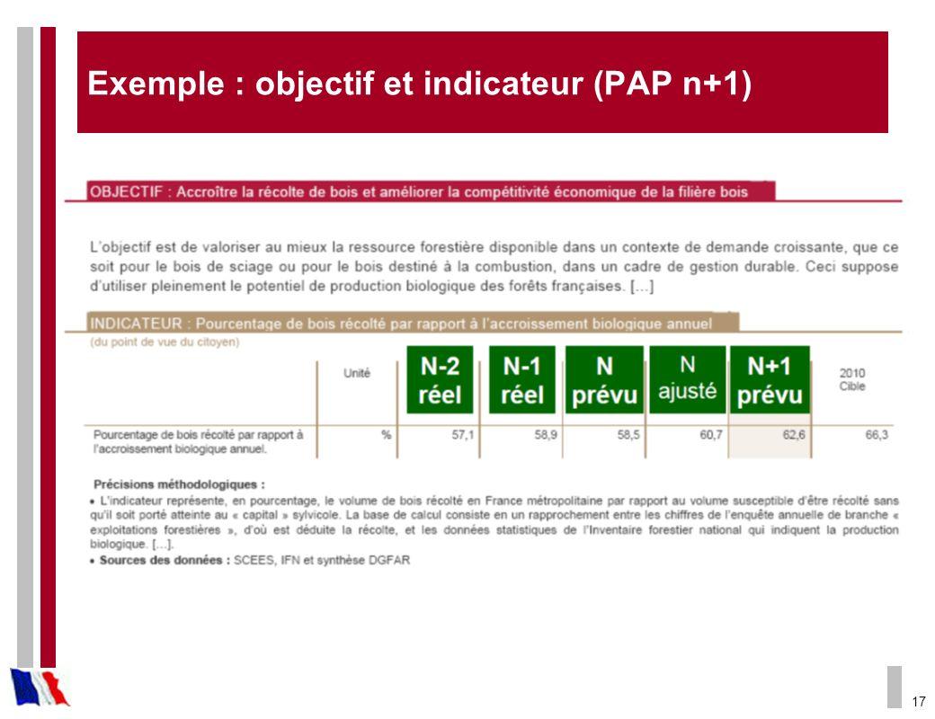 17 Exemple : objectif et indicateur (PAP n+1)