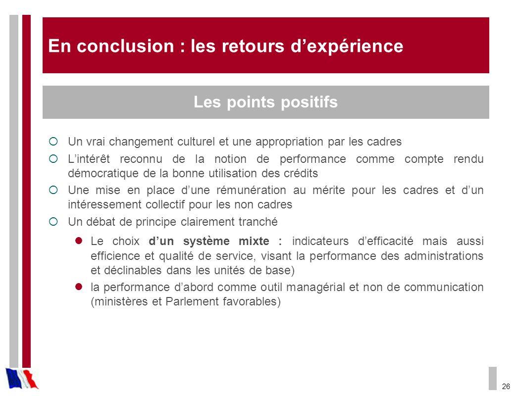 26 En conclusion : les retours dexpérience Un vrai changement culturel et une appropriation par les cadres Lintérêt reconnu de la notion de performanc