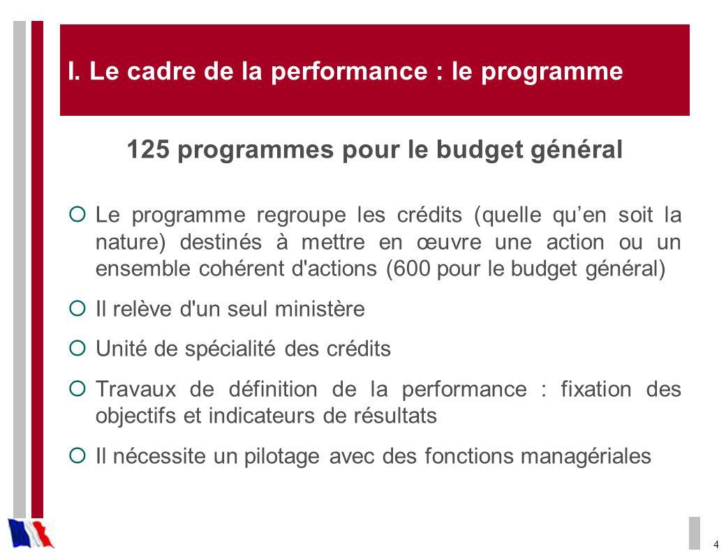 4 I. Le cadre de la performance : le programme 125 programmes pour le budget général Le programme regroupe les crédits (quelle quen soit la nature) de