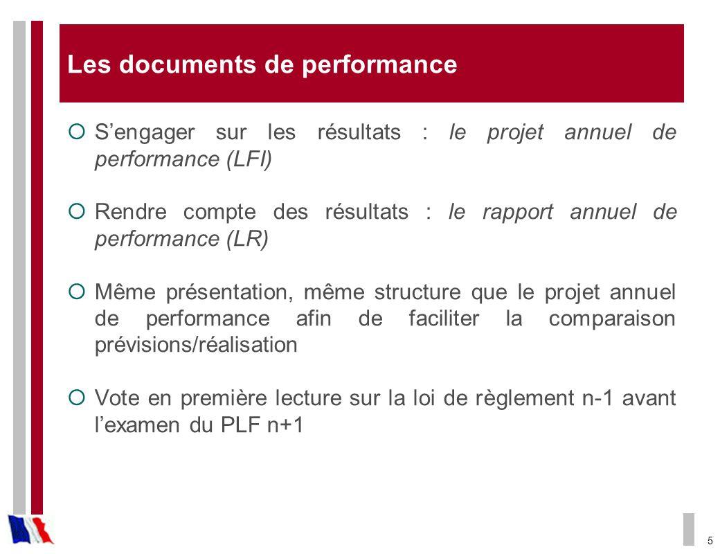 5 Les documents de performance Sengager sur les résultats : le projet annuel de performance (LFI) Rendre compte des résultats : le rapport annuel de p