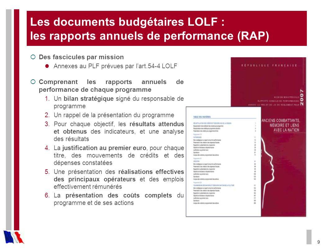 9 Les documents budgétaires LOLF : les rapports annuels de performance (RAP) Des fascicules par mission Annexes au PLF prévues par lart.54-4 LOLF Comp