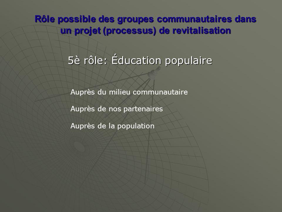 Rôle possible des groupes communautaires dans un projet (processus) de revitalisation 5è rôle: Éducation populaire Auprès du milieu communautaire Auprès de nos partenaires Auprès de la population