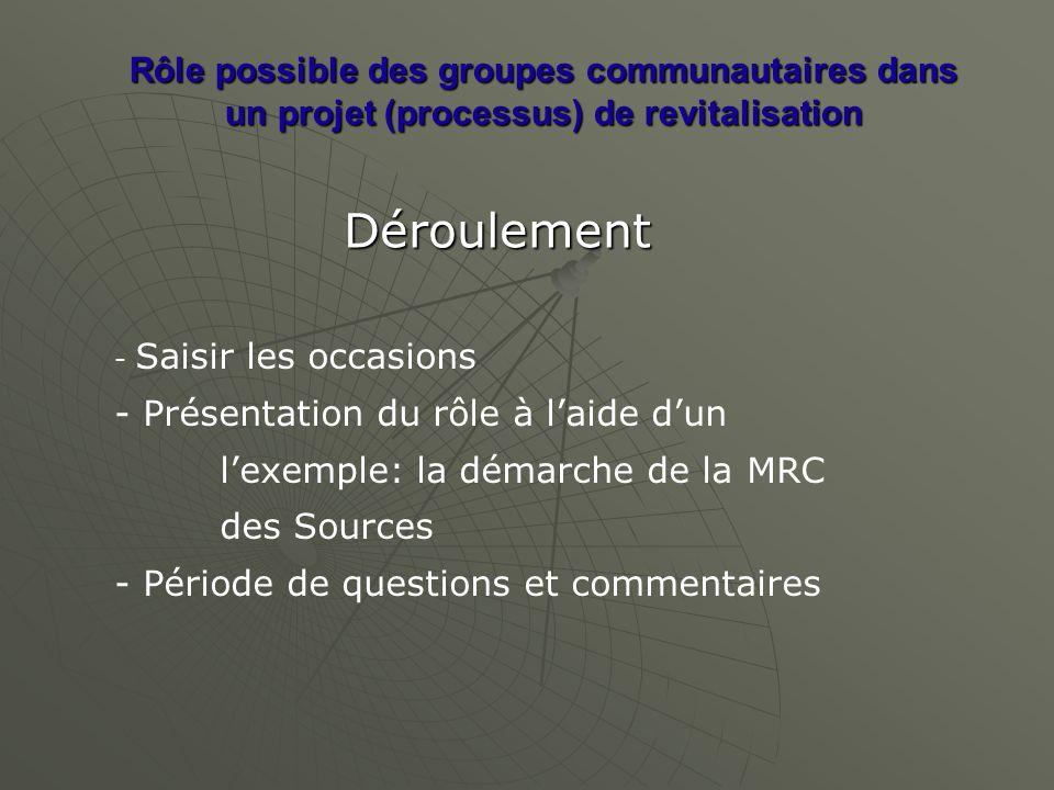 Rôle possible des groupes communautaires dans un projet (processus) de revitalisation Déroulement - Saisir les occasions - Présentation du rôle à laide dun lexemple: la démarche de la MRC des Sources - Période de questions et commentaires