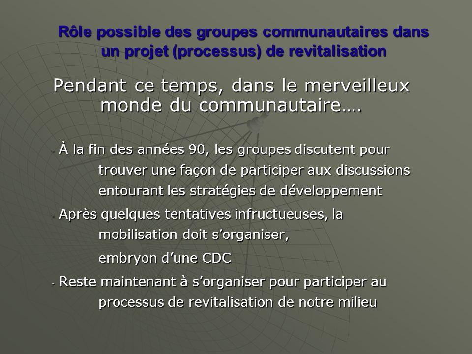 Rôle possible des groupes communautaires dans un projet (processus) de revitalisation Pendant ce temps, dans le merveilleux monde du communautaire…. -