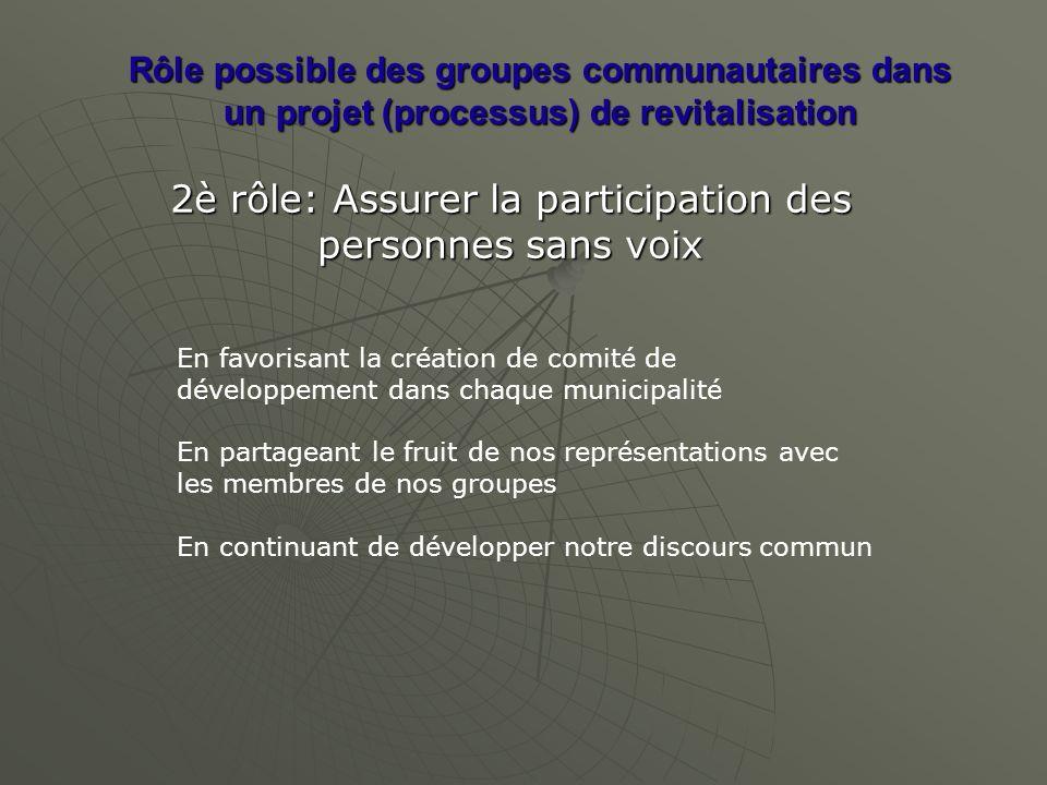 Rôle possible des groupes communautaires dans un projet (processus) de revitalisation 2è rôle: Assurer la participation des personnes sans voix En fav