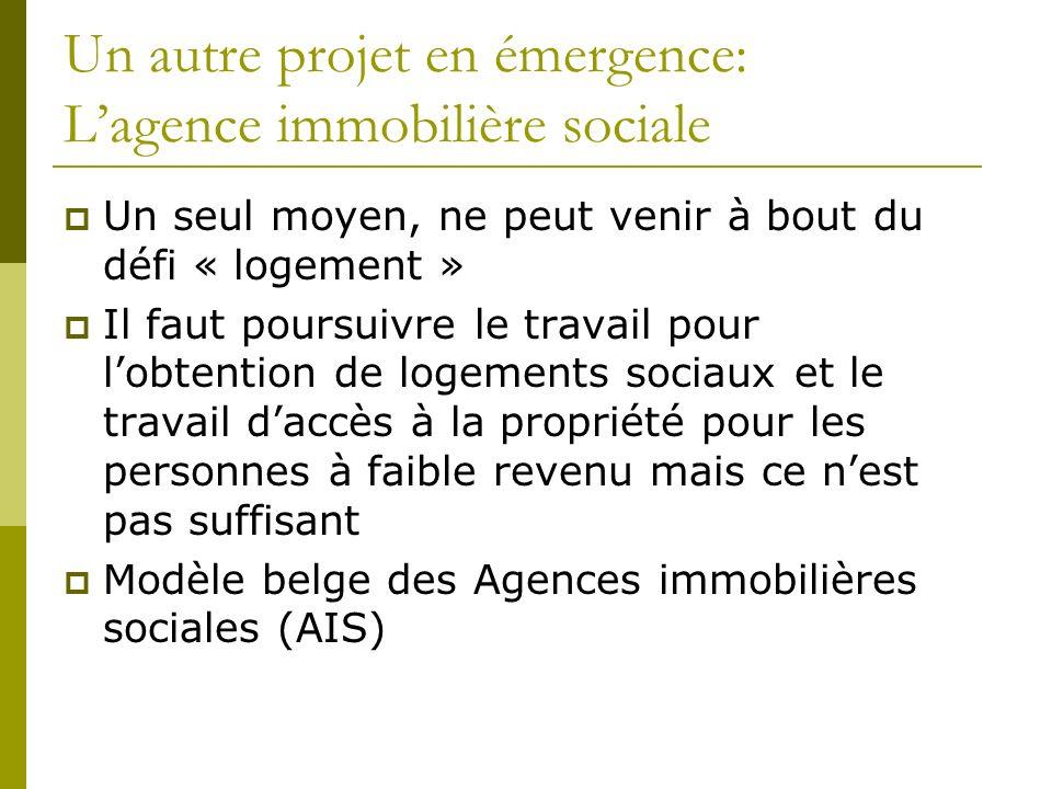 Un autre projet en émergence: Lagence immobilière sociale Un seul moyen, ne peut venir à bout du défi « logement » Il faut poursuivre le travail pour lobtention de logements sociaux et le travail daccès à la propriété pour les personnes à faible revenu mais ce nest pas suffisant Modèle belge des Agences immobilières sociales (AIS)
