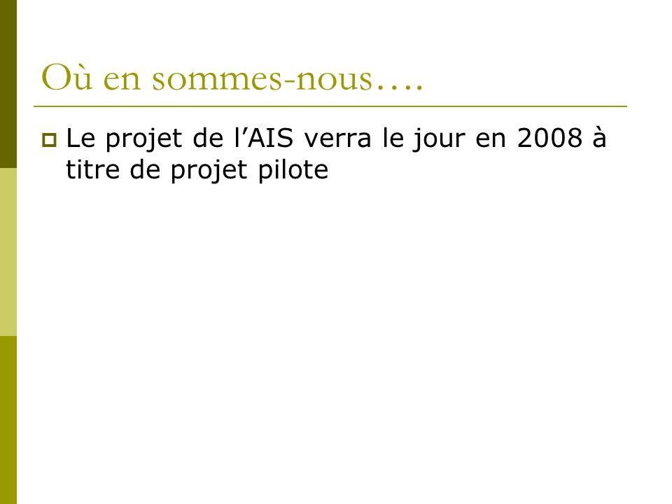 Où en sommes-nous…. Le projet de lAIS verra le jour en 2008 à titre de projet pilote