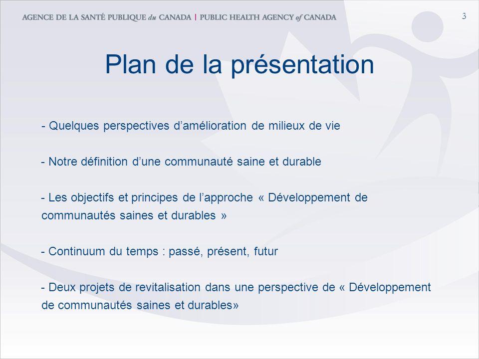 3 Plan de la présentation - Quelques perspectives damélioration de milieux de vie - Notre définition dune communauté saine et durable - Les objectifs et principes de lapproche « Développement de communautés saines et durables » - Continuum du temps : passé, présent, futur - Deux projets de revitalisation dans une perspective de « Développement de communautés saines et durables»