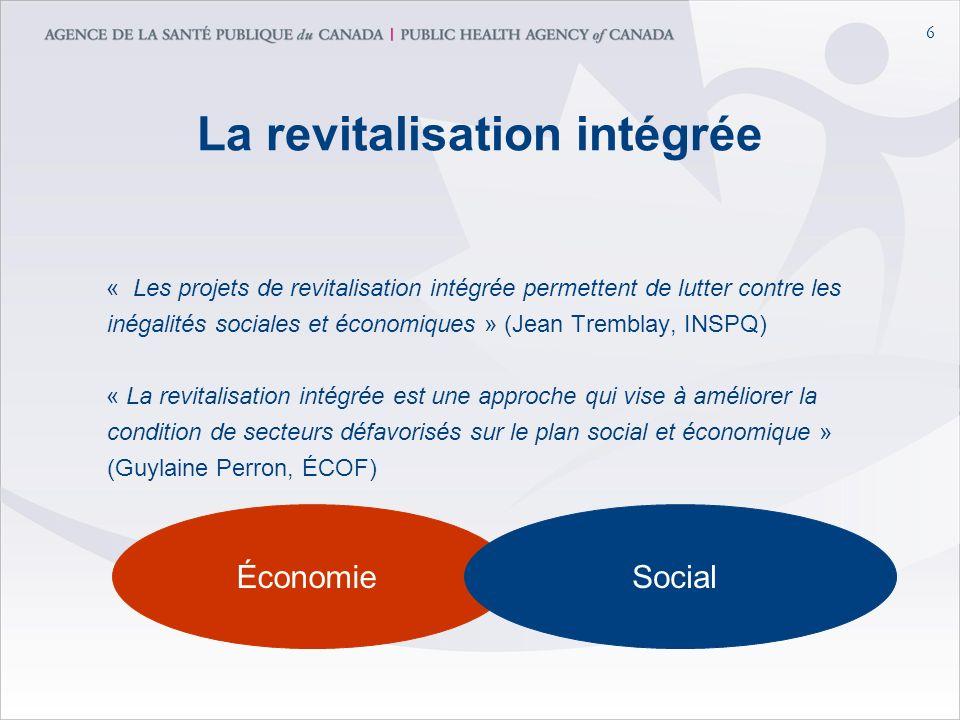 6 La revitalisation intégrée « Les projets de revitalisation intégrée permettent de lutter contre les inégalités sociales et économiques » (Jean Tremblay, INSPQ) « La revitalisation intégrée est une approche qui vise à améliorer la condition de secteurs défavorisés sur le plan social et économique » (Guylaine Perron, ÉCOF) ÉconomieSocial