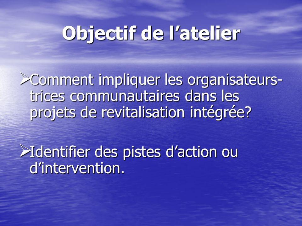 Objectif de latelier Comment impliquer les organisateurs- trices communautaires dans les projets de revitalisation intégrée.
