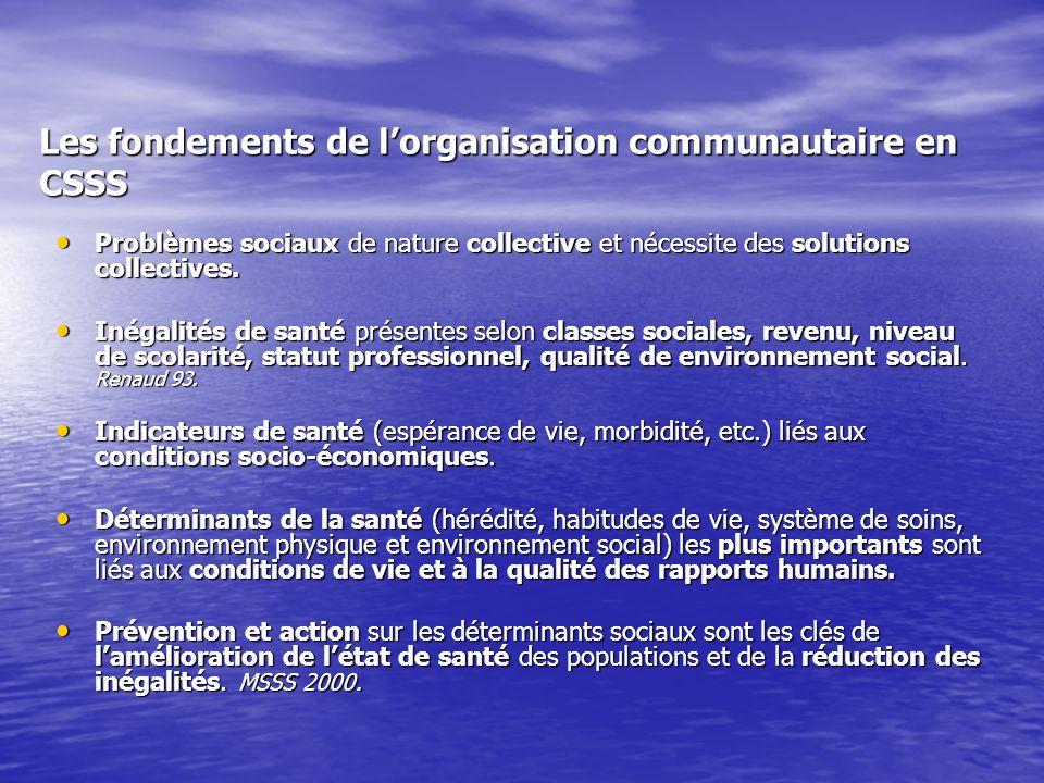 Les fondements de lorganisation communautaire en CSSS Problèmes sociaux de nature collective et nécessite des solutions collectives.