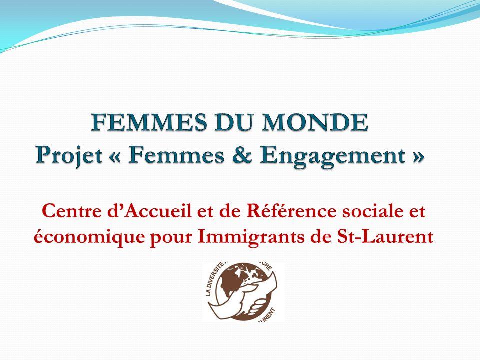 « Femmes et engagement » Conçu en 2006, « Femmes et engagement » sinscrit dans le programme « Femmes du monde », créé en 1996 par le CARI St-Laurent Lieu déchange, dinformation et de rencontre, où les femmes immigrantes peuvent discuter de leurs différences et de leurs ressemblances Favorise le développement personnel, la prise de parole et limplication citoyenne COMMENT: Soutenant les femmes immigrantes dans leur rôle de parents et en les outillant pour vivre dans un environnement domestique et public sécuritaires En tenant compte de la perception de lengagement qui varie selon lorigine de la femme immigrante, peut dépendre de son passé et de ses traditions (ex.: bénévolat nest pas courant dans toutes les cultures, cest même lexclusivité des riches…., signature dune pétition, impact de la diffusion des noms des signataires….., lidentité personnelle est ancrée dans le réseau social, les décisions du groupe lemportent sur les décisions personnelles : culture arabe / collectivité, les femmes sont valorisées principalement dans leur rôle familial / priorité..).
