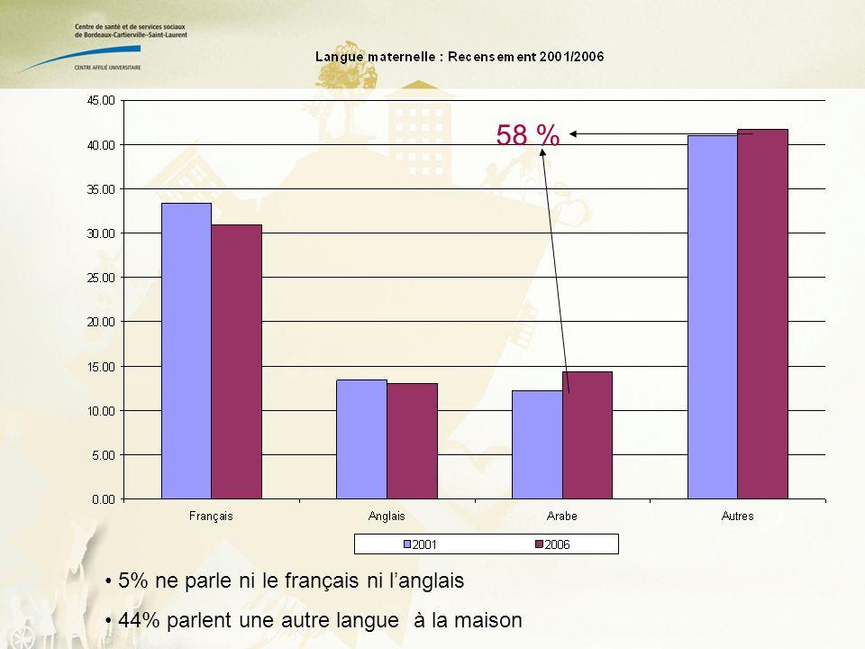 58 % 5% ne parle ni le français ni langlais 44% parlent une autre langue à la maison