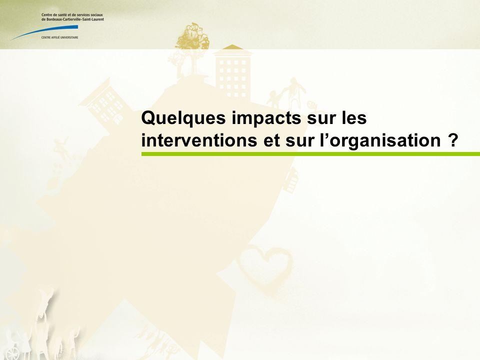 Quelques impacts sur les interventions et sur lorganisation