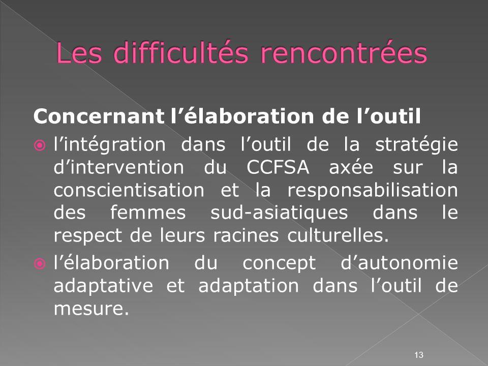 Concernant lélaboration de loutil lintégration dans loutil de la stratégie dintervention du CCFSA axée sur la conscientisation et la responsabilisation des femmes sud-asiatiques dans le respect de leurs racines culturelles.