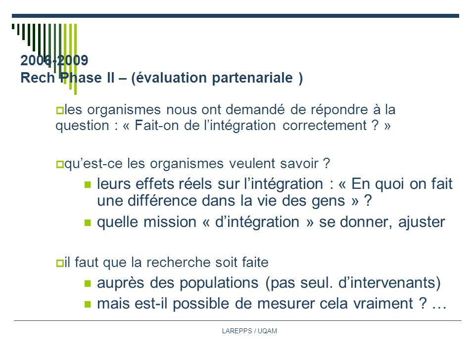 LAREPPS / UQAM 2006-2009 Rech Phase II – (évaluation partenariale ) les organismes nous ont demandé de répondre à la question : « Fait-on de lintégration correctement .
