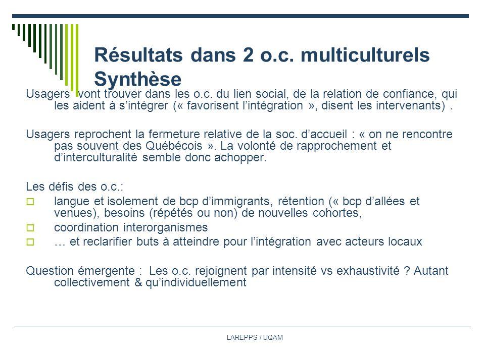 LAREPPS / UQAM Résultats dans 2 o.c.multiculturels Synthèse Usagers vont trouver dans les o.c.
