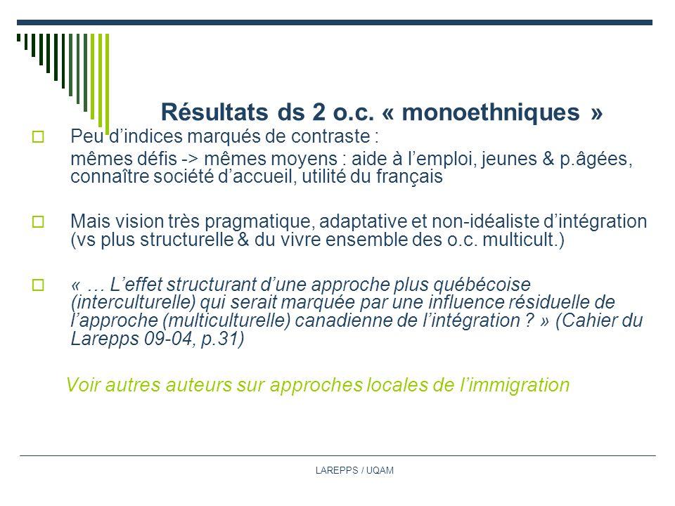 LAREPPS / UQAM Résultats ds 2 o.c.