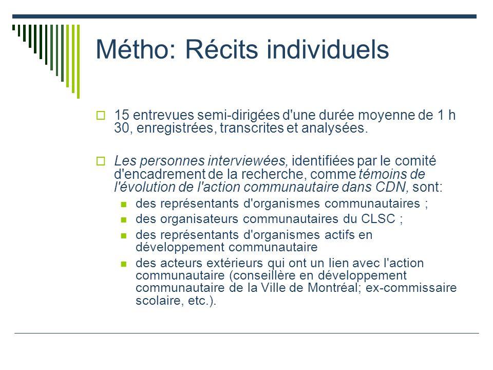 Métho: Récits individuels 15 entrevues semi-dirigées d une durée moyenne de 1 h 30, enregistrées, transcrites et analysées.