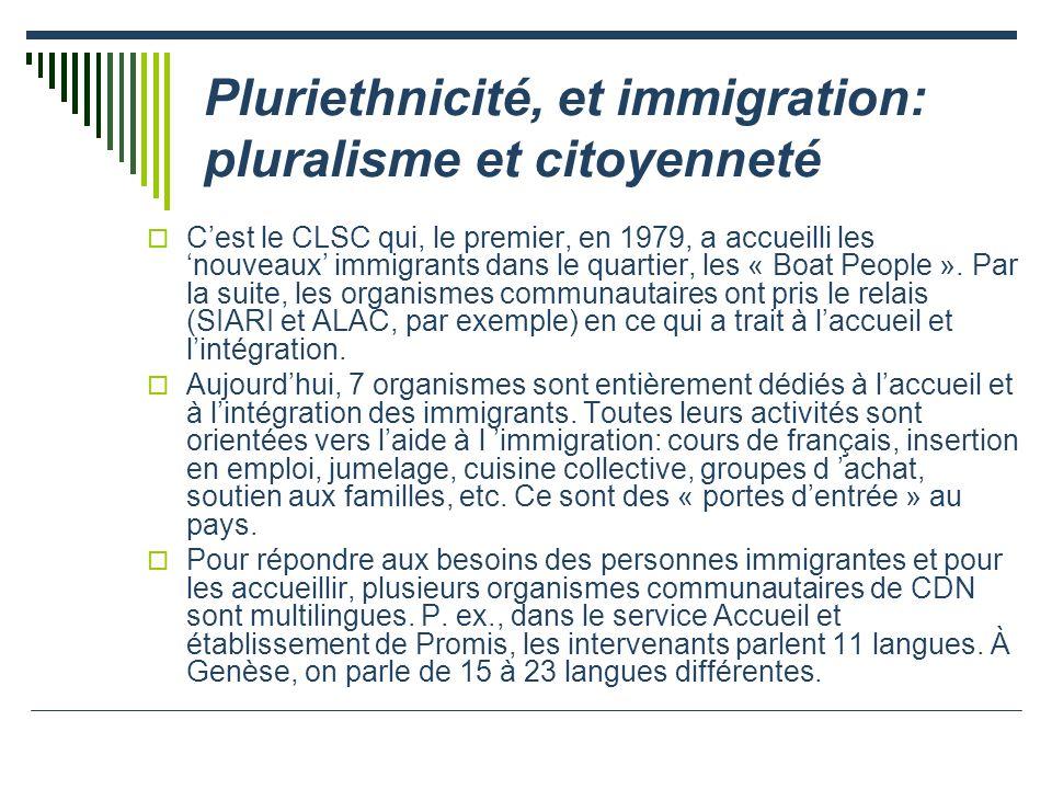 Pluriethnicité, et immigration: pluralisme et citoyenneté Cest le CLSC qui, le premier, en 1979, a accueilli les nouveaux immigrants dans le quartier, les « Boat People ».