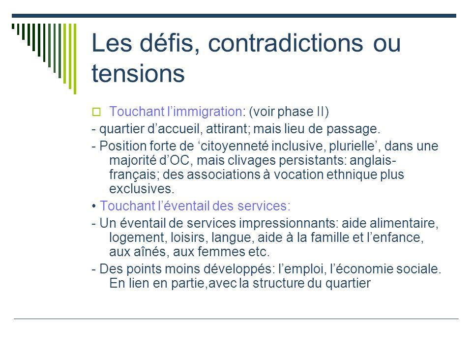 Les défis, contradictions ou tensions Touchant limmigration: (voir phase II) - quartier daccueil, attirant; mais lieu de passage.