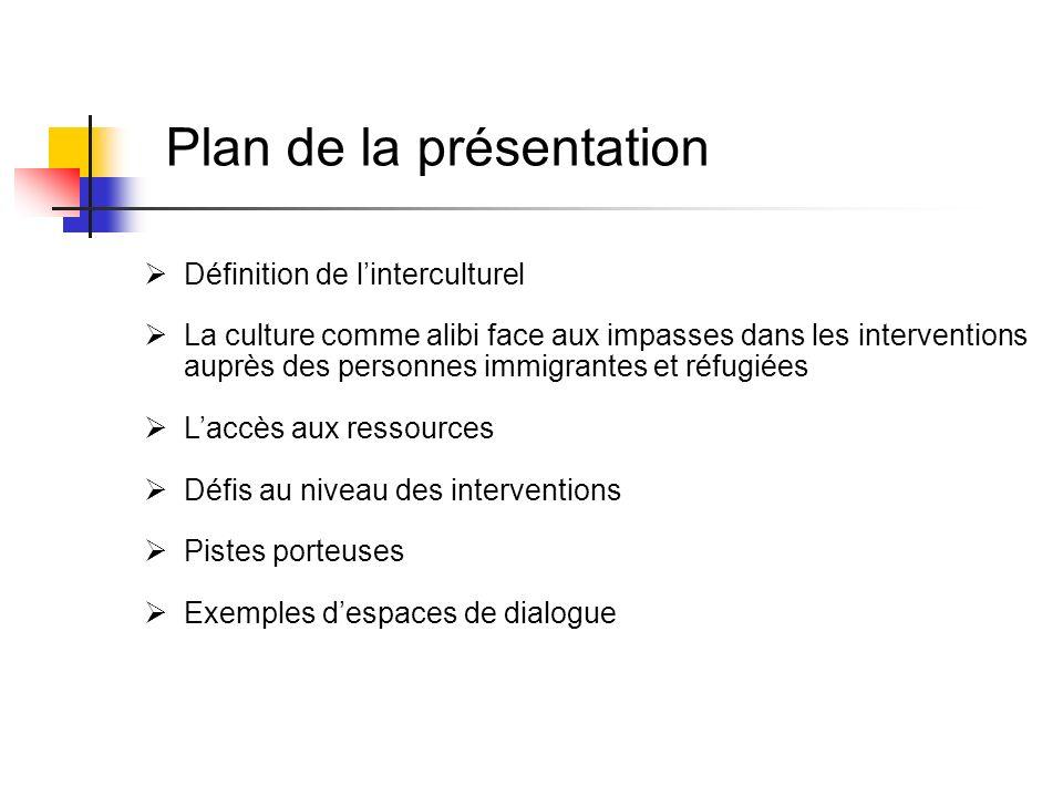 Plan de la présentation Définition de linterculturel La culture comme alibi face aux impasses dans les interventions auprès des personnes immigrantes