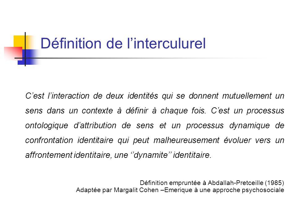 Définition de linterculurel Cest linteraction de deux identités qui se donnent mutuellement un sens dans un contexte à définir à chaque fois. Cest un