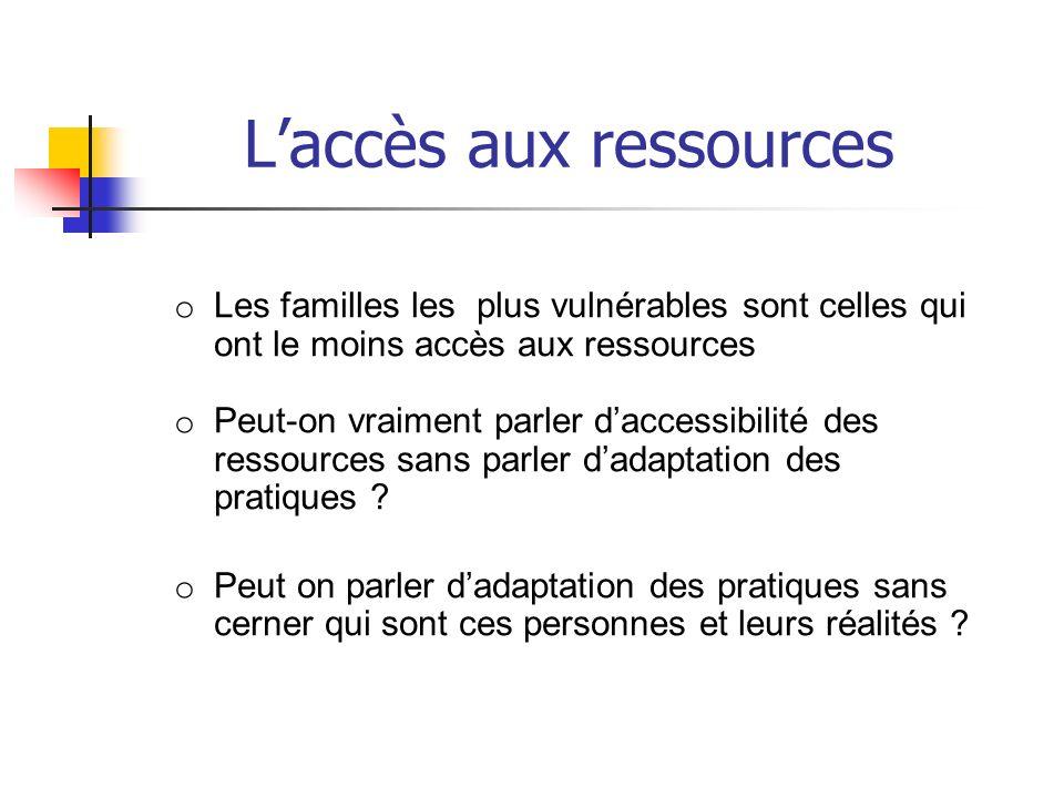 Laccès aux ressources o Les familles les plus vulnérables sont celles qui ont le moins accès aux ressources o Peut-on vraiment parler daccessibilité d