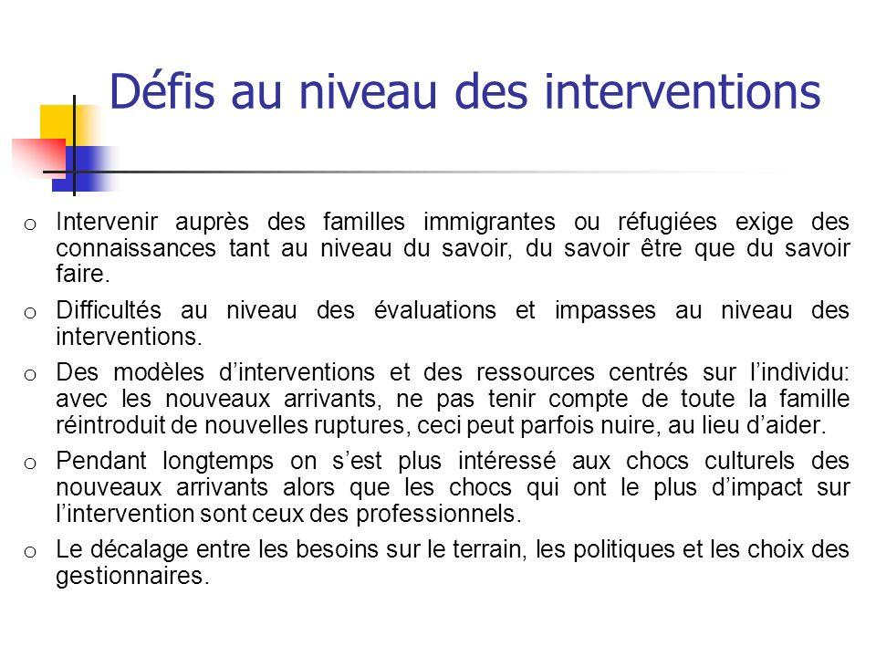 Défis au niveau des interventions o Intervenir auprès des familles immigrantes ou réfugiées exige des connaissances tant au niveau du savoir, du savoi