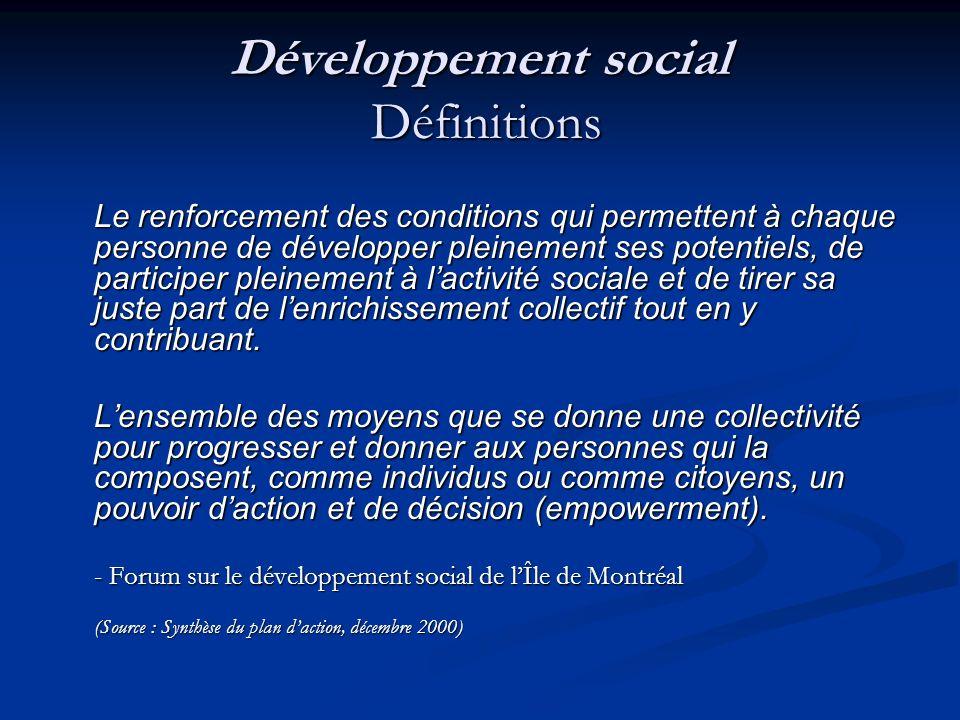 Développement social Définitions Permettre à chaque citoyen de participer à la vie sociale, davoir accès à des ressources de qualité et davoir un cadre de vie agréable et sécuritaire.