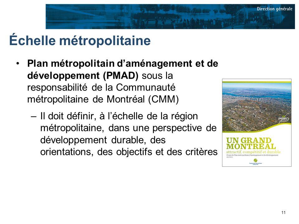 11 Échelle métropolitaine Plan métropolitain daménagement et de développement (PMAD) sous la responsabilité de la Communauté métropolitaine de Montréal (CMM) –Il doit définir, à léchelle de la région métropolitaine, dans une perspective de développement durable, des orientations, des objectifs et des critères