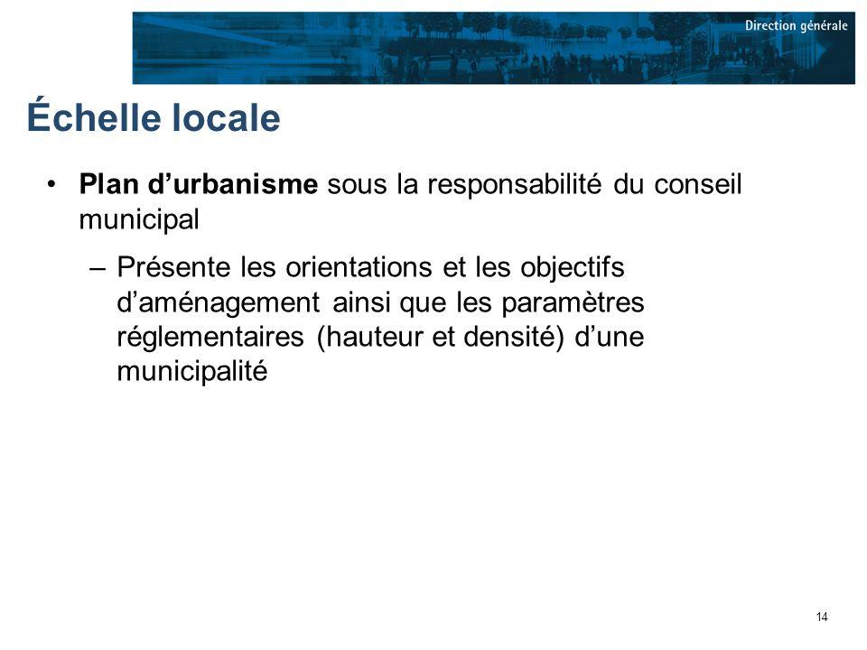 14 Échelle locale Plan durbanisme sous la responsabilité du conseil municipal –Présente les orientations et les objectifs daménagement ainsi que les paramètres réglementaires (hauteur et densité) dune municipalité