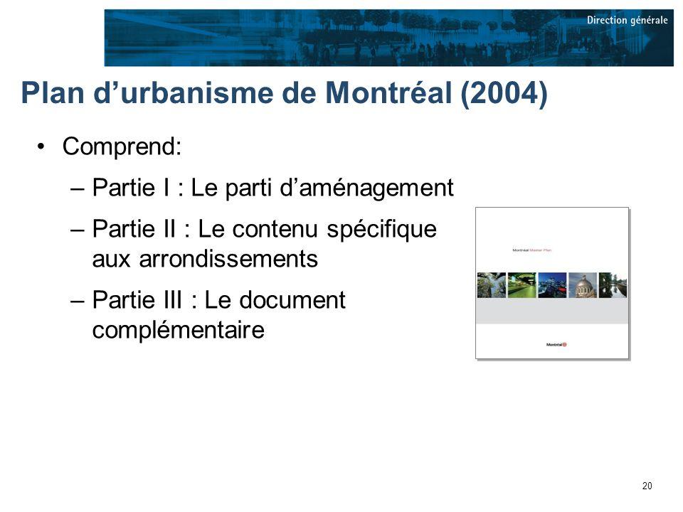 20 Plan durbanisme de Montréal (2004) Comprend: –Partie I : Le parti daménagement –Partie II : Le contenu spécifique aux arrondissements –Partie III : Le document complémentaire
