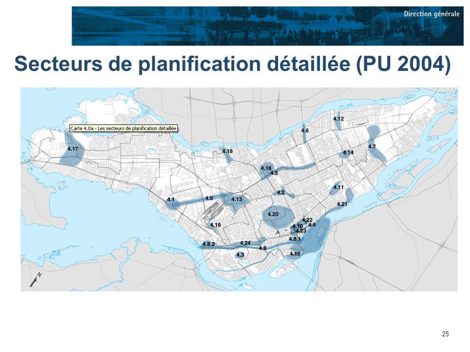 25 Secteurs de planification détaillée (PU 2004)