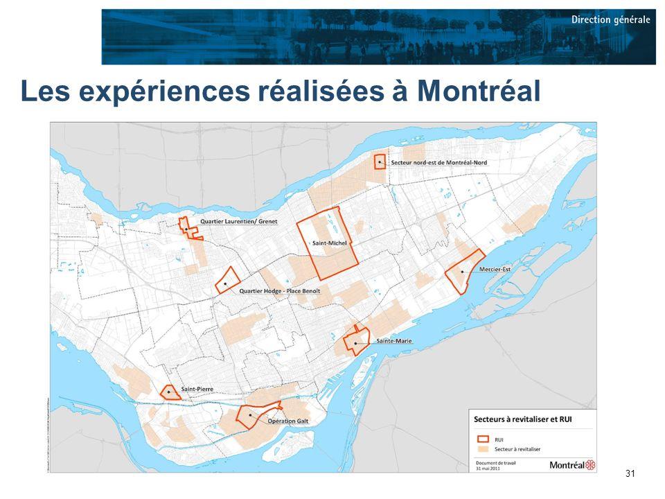 31 Les expériences réalisées à Montréal