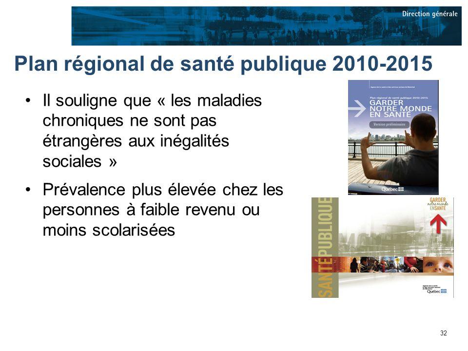 32 Plan régional de santé publique 2010-2015 Il souligne que « les maladies chroniques ne sont pas étrangères aux inégalités sociales » Prévalence plus élevée chez les personnes à faible revenu ou moins scolarisées