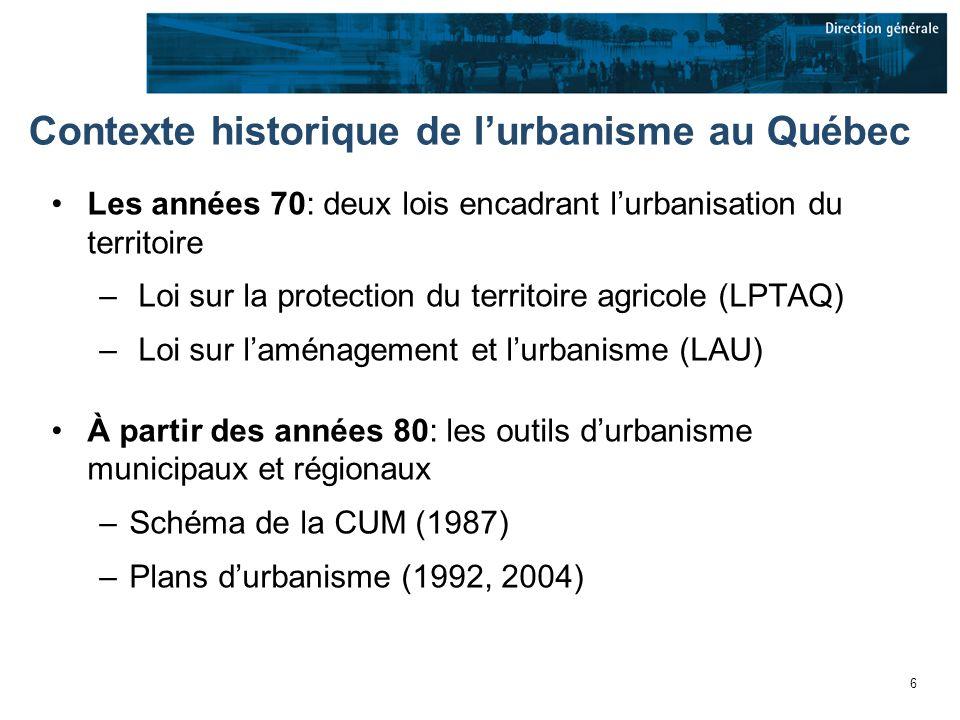 37 Plan de développement de Montréal Plan stratégique et de synthèse qui reprend plusieurs éléments clés des politiques sectorielles dans une vision densemble du développement de Montréal Il sappuie sur une vision de reconstruction de la ville sur elle-même et sur les principes du développement durable