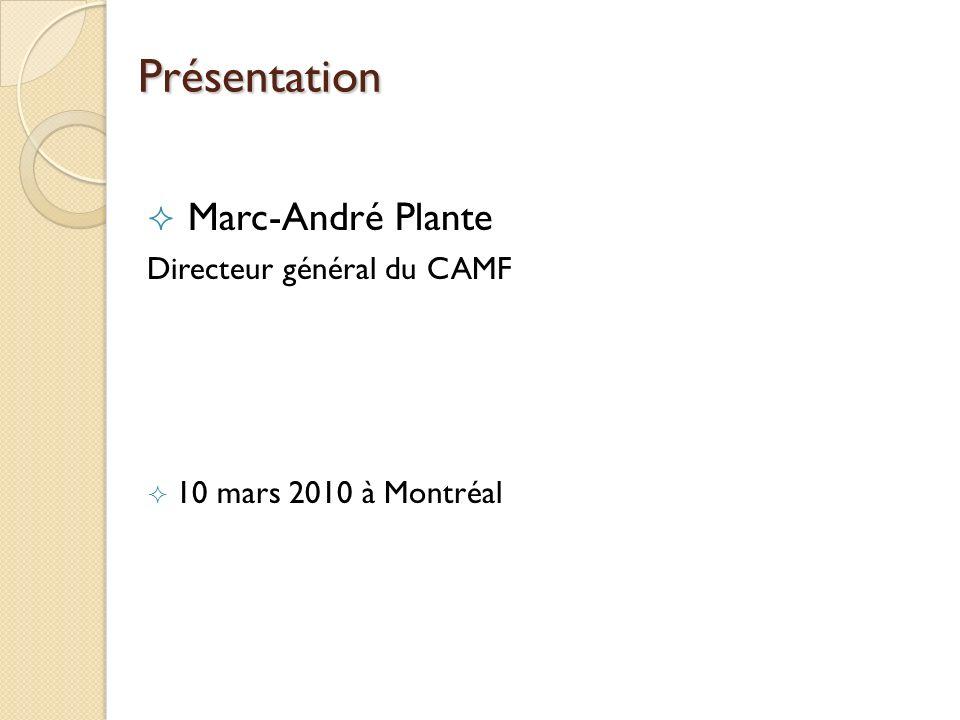 Origine et mission du CAMF Naissance de lorganisation en 1989 suite à la mobilisation des élus municipaux Regroupement de 450 municipalités intéressées par le « Penser et agir famille » dans le milieu municipal Sa mission : soutenir le développement des PFM et de MADA Lieu déchange et de réflexion pour les acteurs municipaux Partenaire du MFA dans le cadre de son programme de soutien financier Conseil dadministration représentatif du Québec (présence de lUMQ et de la FQM)
