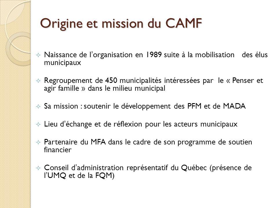 Origine et mission du CAMF Naissance de lorganisation en 1989 suite à la mobilisation des élus municipaux Regroupement de 450 municipalités intéressée