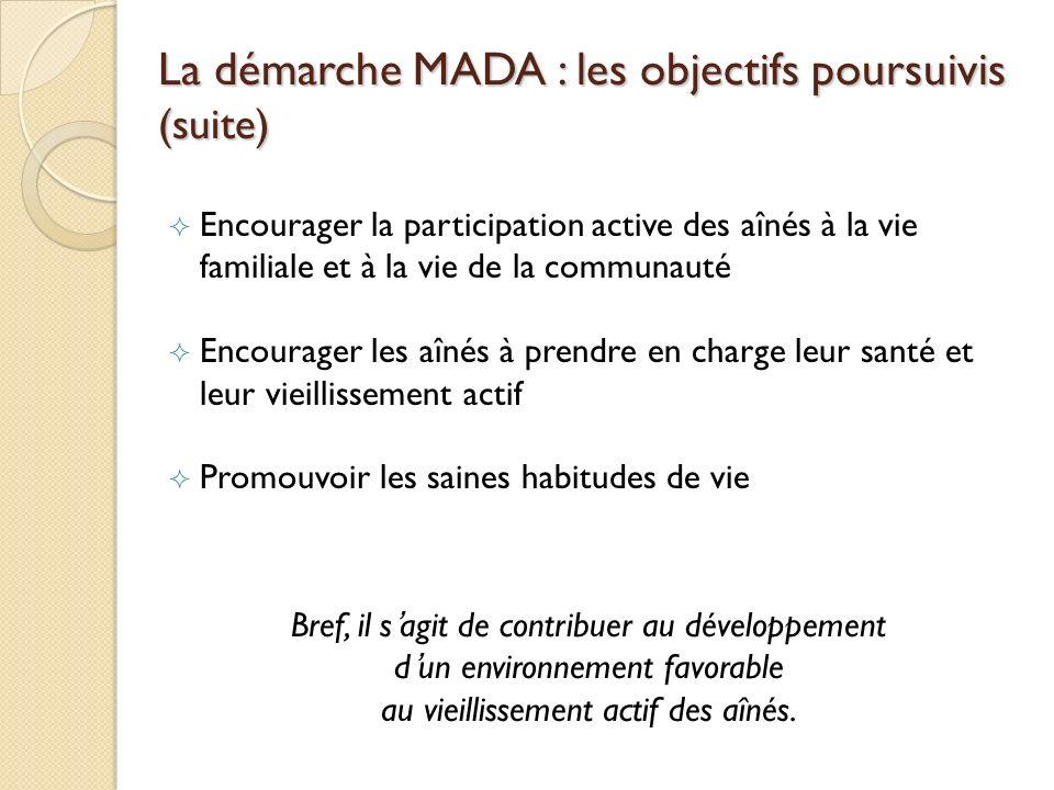 La démarche MADA : les objectifs poursuivis (suite) Encourager la participation active des aînés à la vie familiale et à la vie de la communauté Encou