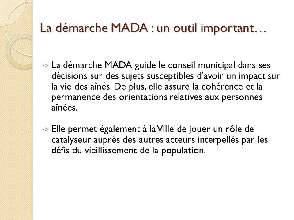La démarche MADA : un outil important… La démarche MADA guide le conseil municipal dans ses décisions sur des sujets susceptibles davoir un impact sur