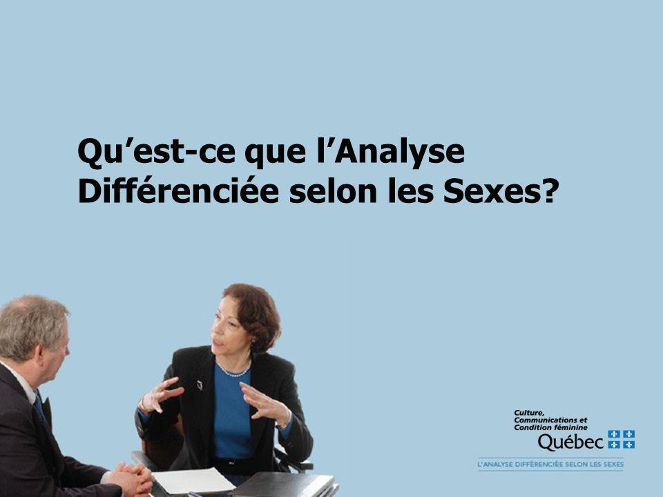 Quest-ce que lAnalyse Différenciée selon les Sexes