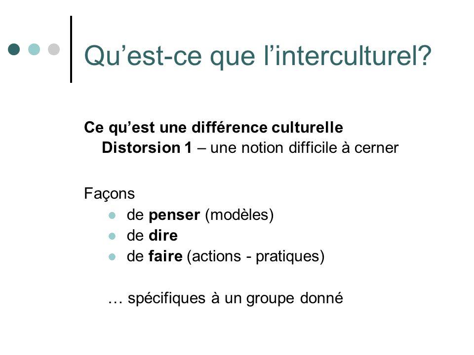 Quest-ce que linterculturel? Ce quest une différence culturelle Distorsion 1 – une notion difficile à cerner Façons de penser (modèles) de dire de fai