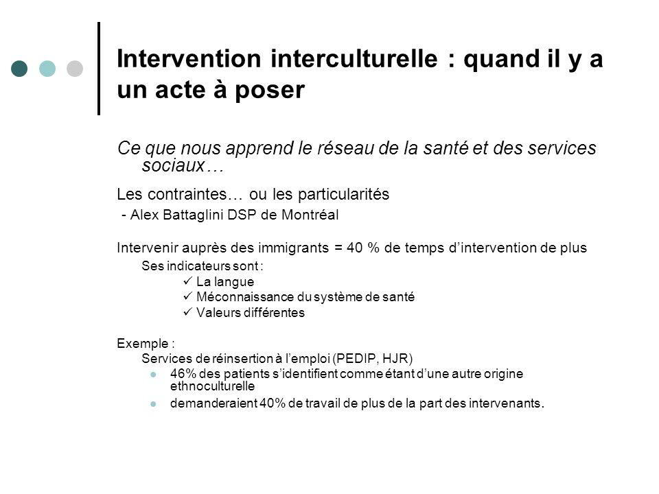 Intervention interculturelle : quand il y a un acte à poser Ce que nous apprend le réseau de la santé et des services sociaux… Les contraintes… ou les