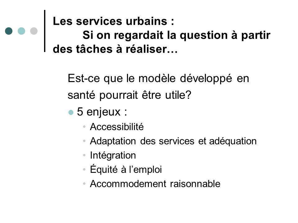 Les services urbains : Si on regardait la question à partir des tâches à réaliser… Est-ce que le modèle développé en santé pourrait être utile? 5 enje