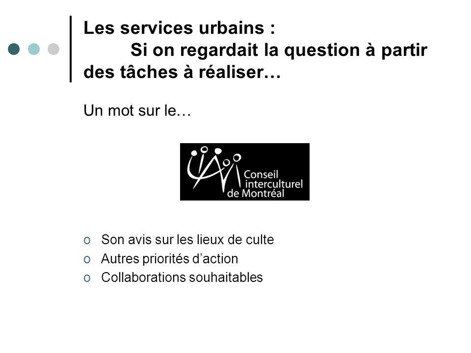 Les services urbains : Si on regardait la question à partir des tâches à réaliser… Un mot sur le… oSon avis sur les lieux de culte oAutres priorités d