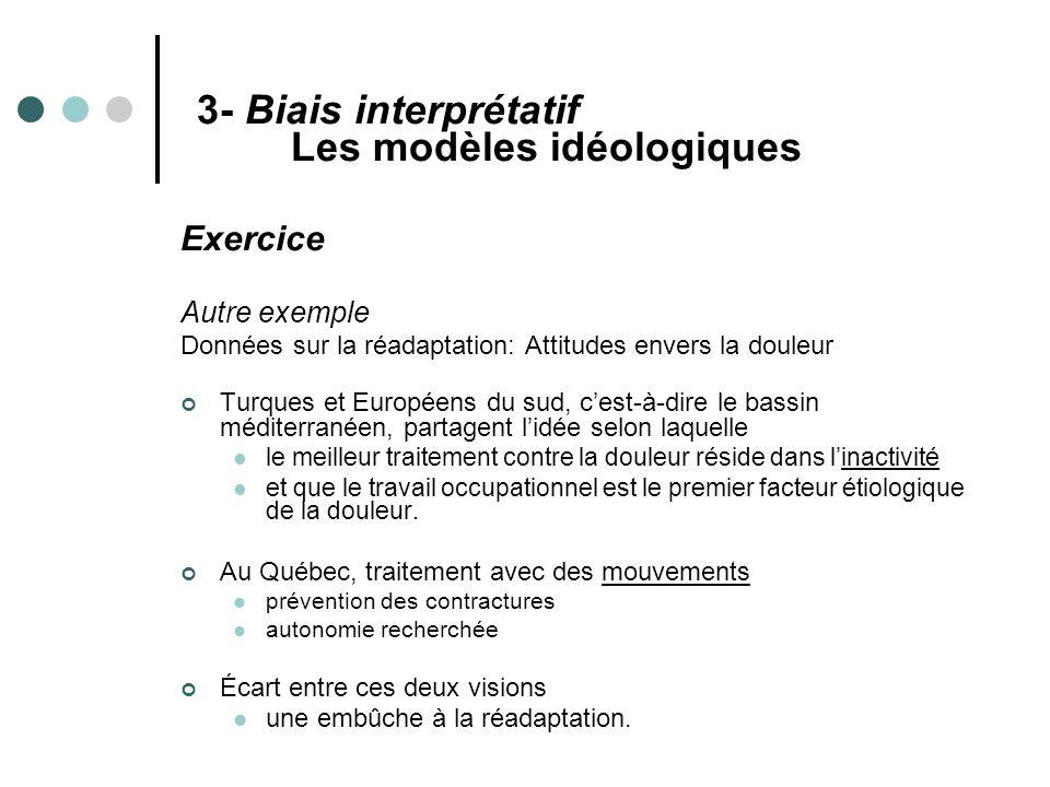 3- Biais interprétatif Les modèles idéologiques Exercice Autre exemple Données sur la réadaptation: Attitudes envers la douleur Turques et Européens d