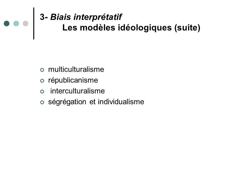 3- Biais interprétatif Les modèles idéologiques (suite) multiculturalisme républicanisme interculturalisme ségrégation et individualisme